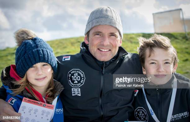 Prince Maurits of The Netherlands with his children Lucas and Felicia at the Hollandse 100 fund raise event Organized by Lymph Co at Flevonice in...