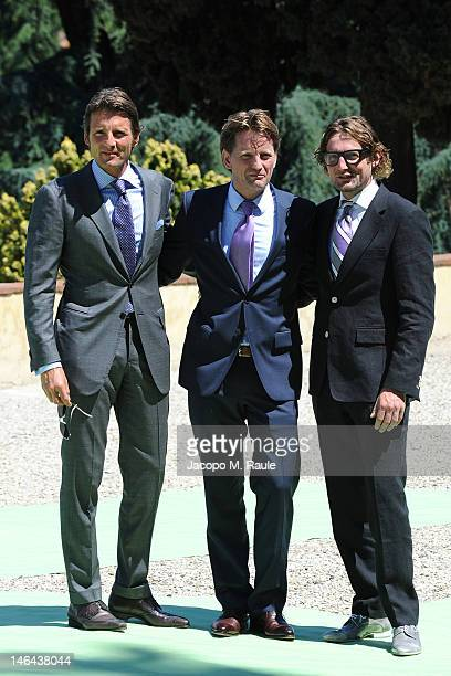 Prince Maurits Prince PieterChristiaan of OrangeNassau van Vollenhoven and Prince Bernhard of the Netherlands arrive for the Princess Carolina Church...