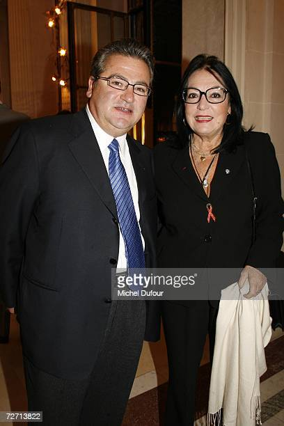 Prince Mavromatis and Nana Mouskouri attend the Fondation Pour L'Enfance lunch at the Meurice Hotel before the ball at Versailles on December 4 2006...