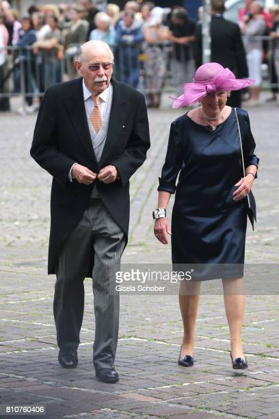 Prince Maximilian Andreas Markgraf von Baden and his wife Valerie Isabella HabsburgLothringen during the wedding of Prince Ernst August of Hanover jr...