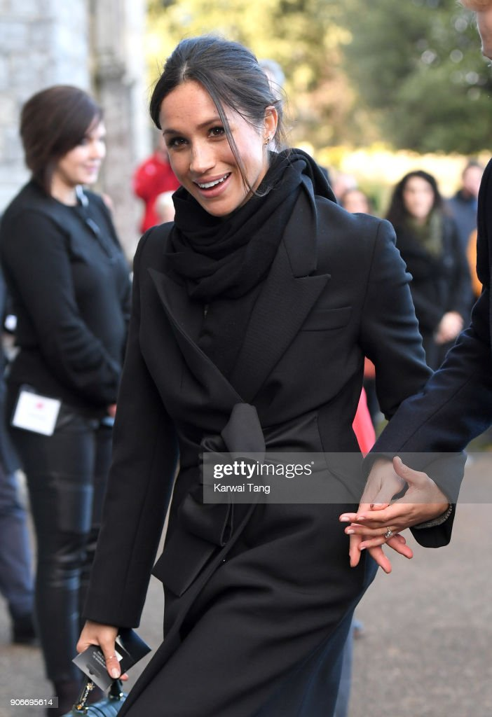 Prince Meghan Markle arrives for a walkabout at Cardiff Castle on January 18, 2018 in Cardiff, Wales.