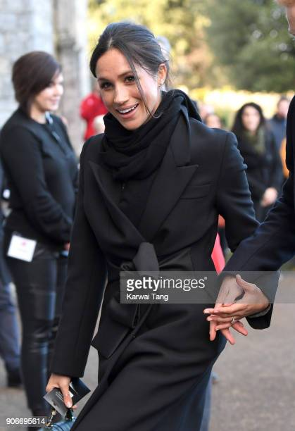 Prince Meghan Markle arrives for a walkabout at Cardiff Castle on January 18 2018 in Cardiff Wales