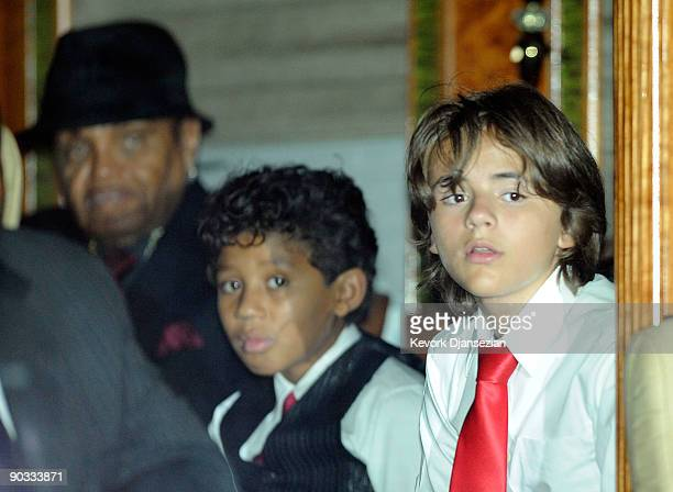 Prince Michael Jackson and Joe Jackson depart Michael Jackson's funeral service held at Glendale Forest Lawn Memorial Park on September 3 2009 in...