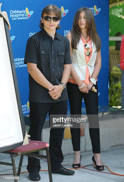 Prince Michael Jackson and Paris Jackson attend the Jackson Family donation event at Children's Hospital Los Angeles on August 8 2011 in Los Angeles...