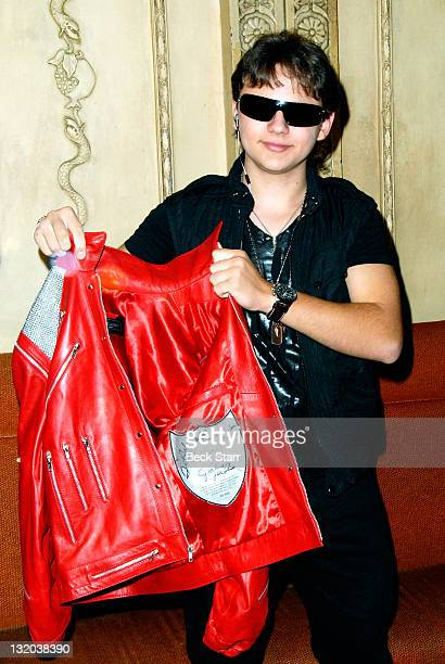 """Prince Michael Jackson attends press conference and signing of limited edition """"Thriller"""" and """"Beat It"""" jackets from The J5 Collection at Chateau..."""