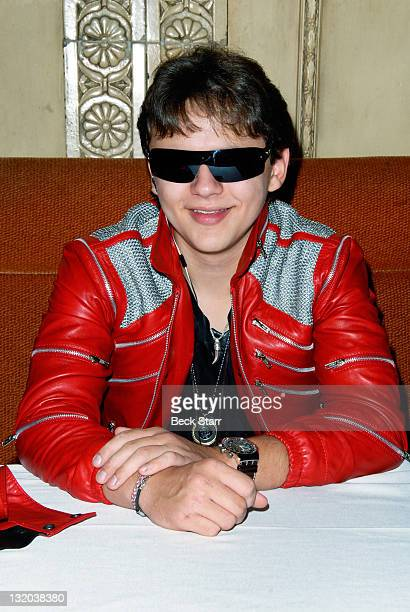 Prince Michael Jackson attends press conference and signing of Jackson's limited edition Thriller and Beat It jackets from The J5 Collection at...