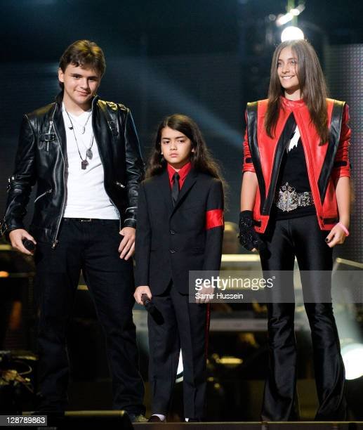 Prince Michael Jackson Blanket Jackson and Paris Jackson appear on stage at the Michael Forever Tribute Concert in memory of the late Michael Jackson...