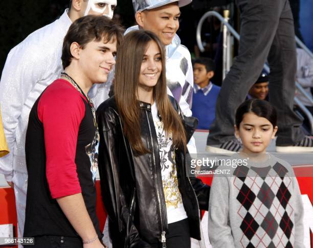 Prince Michael Jackson Blanket Jackson and Paris Jackson at the Michael Jackson Immortalized held at the Grauman's Chinese Theatre in Los Angeles USA...