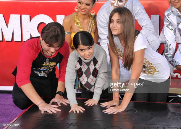 Prince Michael Jackson, Blanket Jackson, and Paris Jackson attend the immortalization of Michael Jackson at Grauman's Chinese Theatre Hand &...