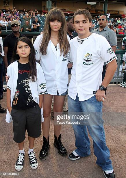Prince Michael Jackson II Paris Jackson and Prince Jackson attend the St Paul Saints Vs The Gary SouthShore RailCats baseball game at US Steel Yard...
