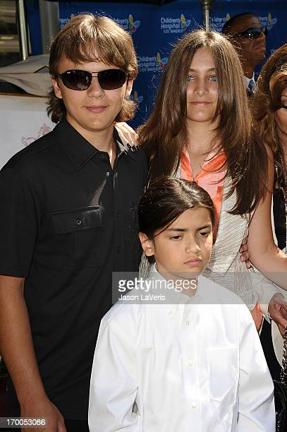 Prince Michael Jackson, Paris Jackson and Blanket Jackson attend the Jackson Family donation event at Children's Hospital Los Angeles on August 8,...