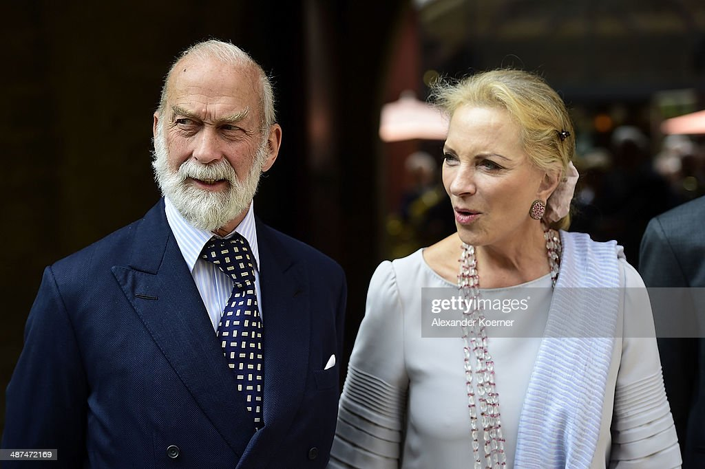 Prince Michael of Kent and his wife Marie Christine von Reibnitz the official opening of the 'Der Weg zur Krone - Das Koenigreich Hannover und seine Herrscher' ('The Road to the Crown - The Kingdom of Hanover and Its Rulers) exhibition at Schloss Marienburg at Schloss Marienburg on April 30, 2014 in Pattensen, Germany. The city of Hanover is scheduled to hold a celebration for the British Royal Family to mark the '300-year personal union' in May and June this year. Prince Andrew, Duke of York, is expected to take part in the celebrations in June.