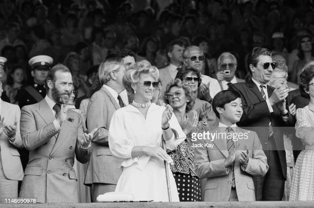 Prince Michael of Kent and his wife Princess Michael of Kent attend the Men's Singles final during Wimbledon Championships at the All England Lawn...