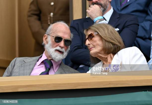 Prince Michael of Kent and Lady Annabel Goldsmith attend day 13 of the Wimbledon Tennis Championships at All England Lawn Tennis and Croquet Club on...
