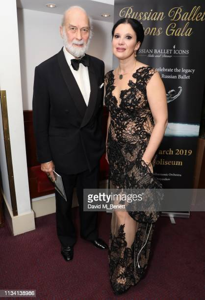Prince Michael of Kent and Olga Balakleets attend the Russian Ballet Gala and dinner on March 31, 2019 in London, England.