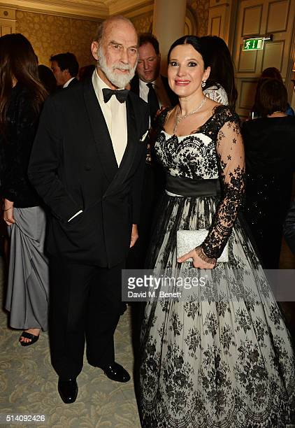 Prince Michael of Kent and Olga Balakleets CEO of Ensemble Productions attend the after party for the Ave Maya Ballet Gala in memory of Maya...