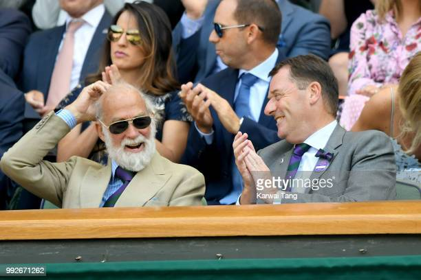 Prince Michael of Kent and Philip Brook attend day five of the Wimbledon Tennis Championships at the All England Lawn Tennis and Croquet Club on July...