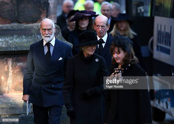 Prince Michael of Kent and Prince Edward Duke of Kent arrive for the memorial service of The Duke of Westminster at Chester Cathedral on November 28...