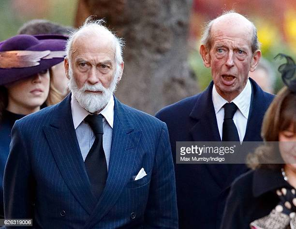Prince Michael of Kent and Prince Edward Duke of Kent attend a Memorial Service for Gerald Grosvenor 6th Duke of Westminster at Chester Cathedral on...