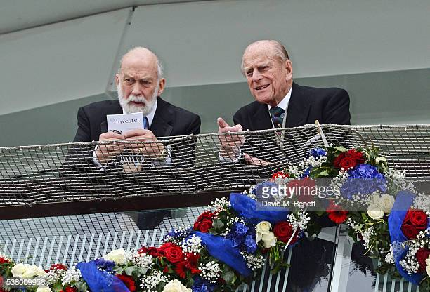 Prince Michael of Kent and Prince Philip Duke of Edinburgh attend Derby Day during the Investec Derby Festival celebrating The Queen's 90th Birthday...