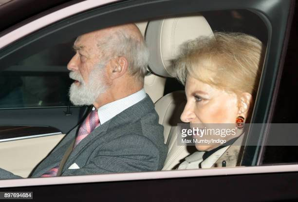 Prince Michael of Kent and Princess Michael of Kent attend a Christmas lunch for members of the Royal Family hosted by Queen Elizabeth II at...
