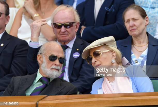 Prince Michael of Kent and Princess Michael of Kent attend day eleven of the Wimbledon Tennis Championships at All England Lawn Tennis and Croquet...