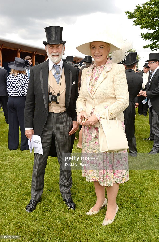 Prince Michael of Kent (L) and Princess Michael of Kent attend Derby Day at the Investec Derby Festival at Epsom Downs Racecourse on June 6, 2014 in Epsom, England.