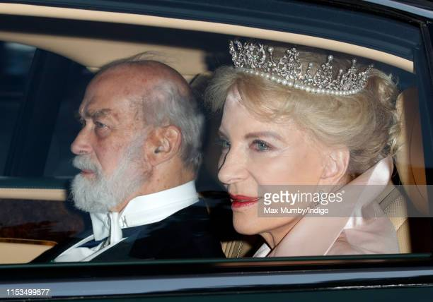 Prince Michael of Kent and Princess Michael of Kent depart Kensington Palace to attend a State Banquet at Buckingham Palace on day 1 of US President...