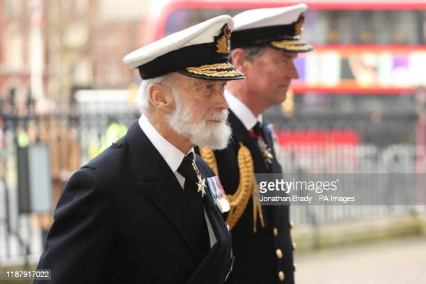 Prince Michael of Kent and Vice Admiral Sir Timothy Laurence arriving for a service of thanksgiving for the life and work of Sir Donald Gosling at...