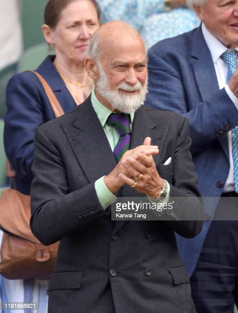 Prince Michael of Kent attends day eleven of the Wimbledon Tennis Championships at All England Lawn Tennis and Croquet Club on July 12, 2019 in...