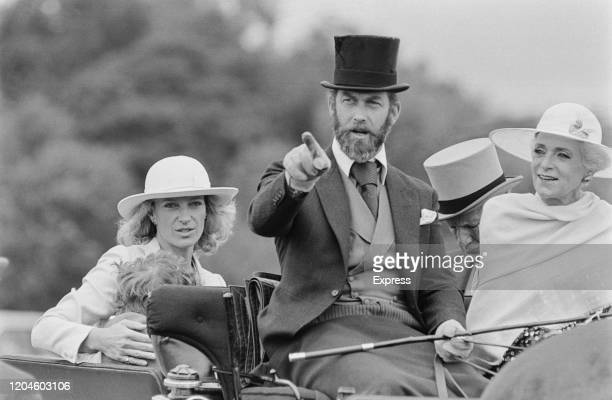 Prince Michael of Kent driving a carriage with his wife Princess Michael of Kent and their son Lord Frederick Windsor UK 24th June 1985