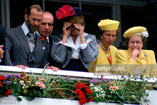 Prince Michael Of Kent Earl Carnarvon Princess Michael Of Kent Princess Anne And Queen Elizabeth II Watching The Racing At The Derby On 1st June