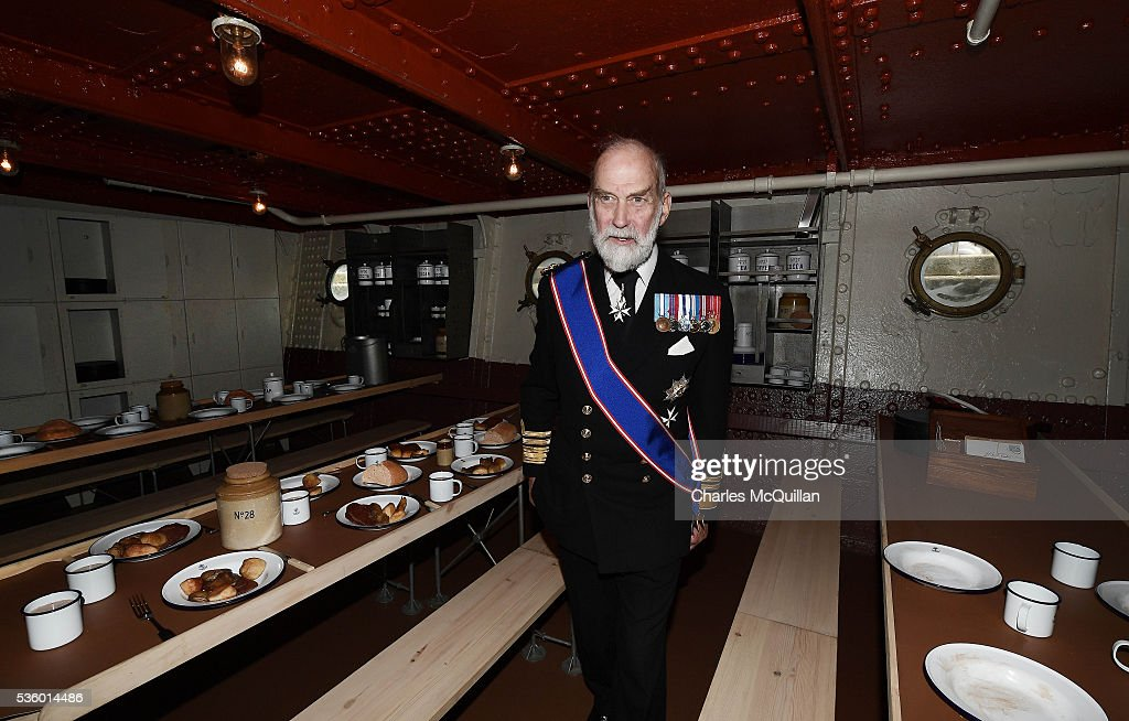 HRH Prince Michael of Kent inspects the newly refurbished HMS Caroline on May 31, 2016 in Belfast, Northern Ireland. HMS Caroline is the last surviving ship from the 1916 Battle of Jutland and today hosted a special all island commemoration service ahead of it's reopening to the public tomorrow after a major restoration project. The Battle of Jutland is remembered as the largest and deadliest naval battle of World War One, where more than 6,000 British and more than 2,500 German personnel lost their lives in the 36-hour Battle off the coast of Denmark.