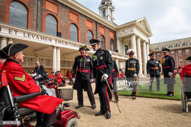 Prince Michael of Kent inspects the parade of Chelsea Pensioners during the Founder's Day Parade at Royal Hospital Chelsea on June 7 2018 in London...