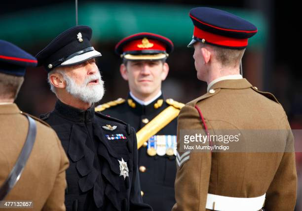 Prince Michael of Kent inspects the troops during the 76 Battery Royal Artillery Pass Off Parade at Alexander Barracks on March 7 2014 in Pirbright...