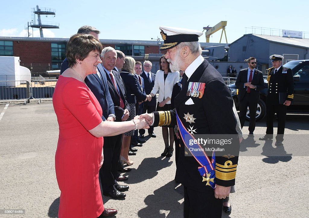 HRH Prince Michael of Kent is greeted by Northern Ireland First Minister Arlene Foster (L) at HMS Caroline on May 31, 2016 in Belfast, Northern Ireland. HMS Caroline is the last surviving ship from the 1916 Battle of Jutland and today hosted a special all island commemoration service ahead of it's reopening to the public tomorrow after a major restoration project. The Battle of Jutland is remembered as the largest and deadliest naval battle of World War One, where more than 6,000 British and more than 2,500 German personnel lost their lives in the 36-hour Battle off the coast of Denmark.