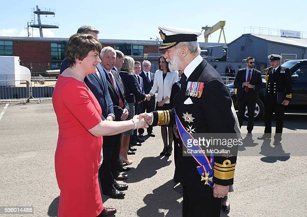 Prince Michael of Kent is greeted by Northern Ireland First Minister Arlene Foster at HMS Caroline on May 31 2016 in Belfast Northern Ireland HMS...