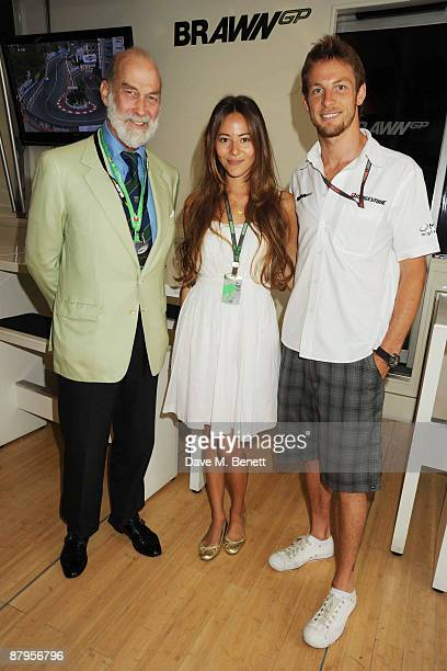HRH Prince Michael of Kent Jessica Michibata and Jenson Button attend the Monaco Formula One Grand Prix race day at the Monte Carlo Circuit on May 24...