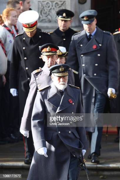 Prince Michael of Kent leads Prince Edward Duke of Kent Princess Anne Princess Royal Prince Harry Duke of Sussex and Prince William Duke of Cambridge...