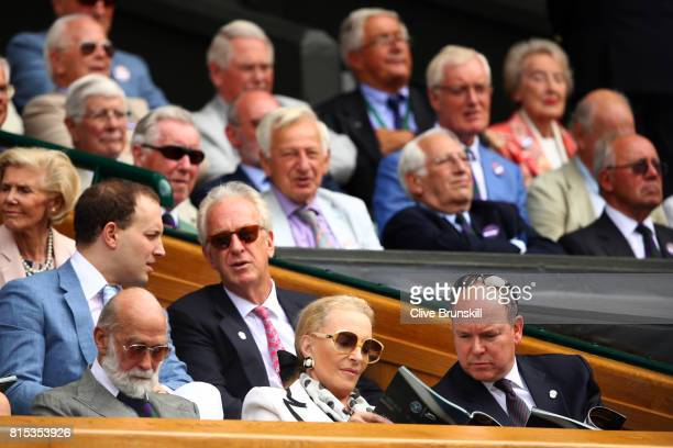 Prince Michael of Kent Princess Michael of Kent and Prince Albert II of Monaco look on from the centre court royal box prior to the Gentlemen's...