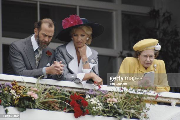 Prince Michael of Kent Princess Michael of Kent and Queen Elizbeth II watching the horseracing at the Derby meeting at Epsom racecourse in Epsom...