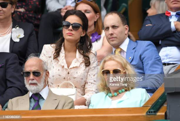 Prince Michael of Kent, Princess Michael of Kent, Lord Frederick Windsor and Sophie Winkleman on Centre Court during Men's Finals Day of the...