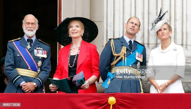 Prince Michael of Kent Princess Michael of Kent Prince Edward Earl of Wessex and Sophie Countess of Wessex watch a flypast to mark the centenary of...