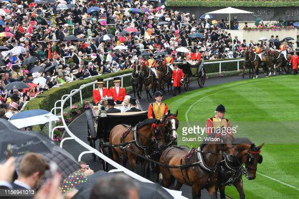 Prince Michael of Kent, Princess Michael of Kent, The Countess Mountbatten of Burma and Sir Mark Prescott Bt arrive at the Parade Ring on day 2 of...