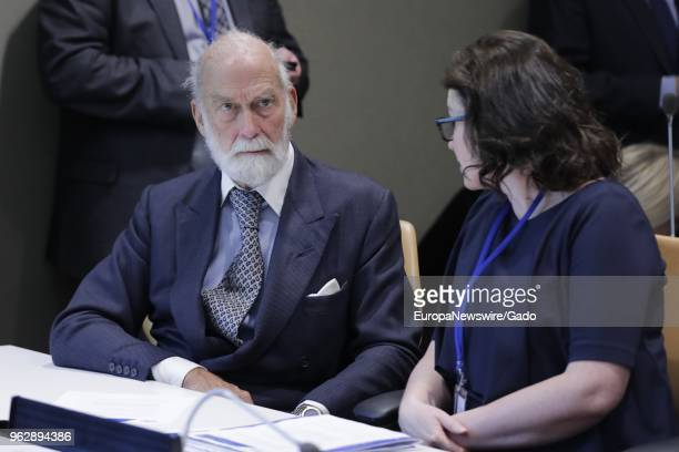 Prince Michael of Kent speaks to a woman half length at the United Nations headquarters in New York City New York April 12 2018