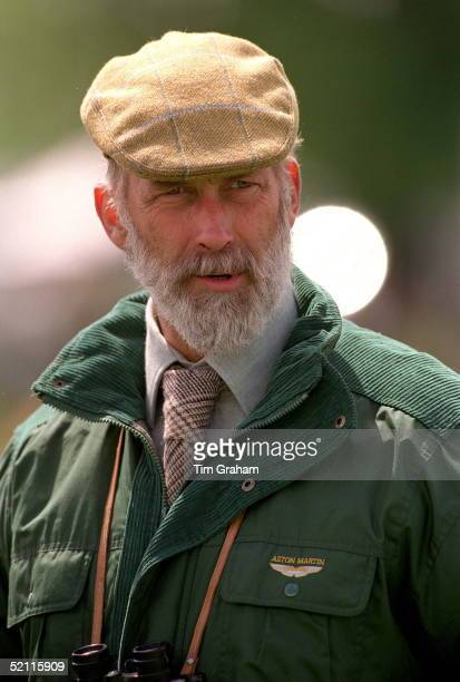 Prince Michael Of Kent Wearing A Flat Cap And Casual Jacket And With Binoculars At The Badminton Horse Trials Gloucstershire