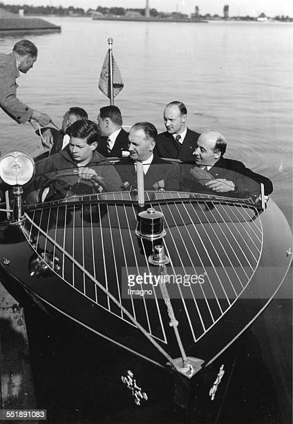 Prince Michael of Romania in the boat 'Bratislava ' [A gift from Czechoslovakia] About 1935 Photograph