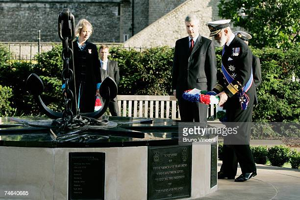 Prince Michael the Duke of Kent lays a wreath at the Merchant Navy Falklands War Memorial in Trinity Gardens during a sunset ceremony on June 15 2007...
