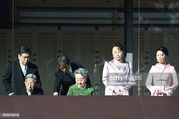 Prince Mikasa, Princess Yuriko, Princess Nobuko and Princess Akiko attend the New Year celebration at the Imperial Palace on January 2, 2016 in...