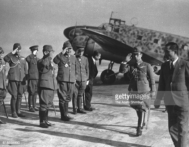 Prince Mikasa salutes after his inspection of front lines of SinoJapanese War at Haneda Airport on Janaury 14 1944 in Tokyo Japan